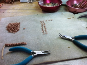 My trusty Wubbers pliers and the beginnings of a Byzantine section.